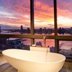 Trump SoHo Hotel Condominium has an amazing view of the New York City skyline.
