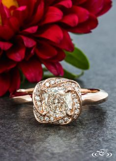 Rose Gold Twist Halo Cushion Diamond Engagement Ring