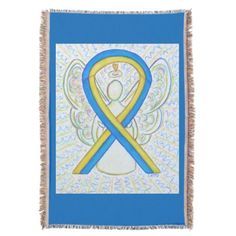 Blue and Yellow Awareness Ribbon Down's Syndrome Angel Throw Blanket