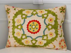 Suzani Pillow Cover Throw Pillow Cushion Cover Red by CottagePixie