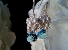 White Pearl With Blue Earrings  Bridal Jewelry by LaLaCrystal, $28.00