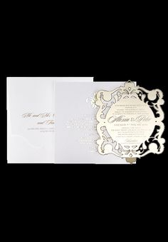 Acrylic Mirror Wedding Invitation Gold Color with Gold Foil Additional Cards and Letterpress Envelope, London, A Suit Of 100 by luxuryweddinvitation on Etsy