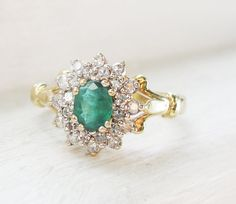Vintage Emerald and Diamonds 9K Yellow Gold von RosenrosettAntiques - FashionFilmsNYC.com