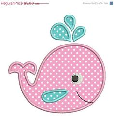 SALE 50% Off Applique Whale Baby Cute II Machine Embroidery Designs 4x4 & 5x7 Instant Download Sale on Etsy, $1.50