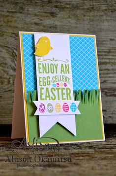 The For Peeps Sake stamp set really screams spring so I took full advantage and made this card bright and colourful! I inked up my stamps by using the brush tip of my Stampin' Write Markers to create these fun multicoloured images. - Allison Okamitsu