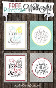 """Darling free wall art.  """"Bless this home with love & laughter.  Happily ever after."""""""