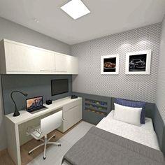 Dormitório masculino em tons neutros