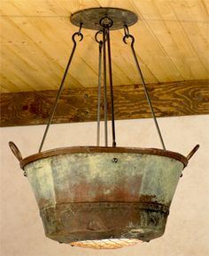 Re-Think Your Decor: Jayne-Young Repurposes Antique Copper Pots Into Light Fixtures chandelier, repurposed rusty salvaged item into unique lighting Rustic Lighting, Unique Lighting, Lighting Ideas, Chandelier Lighting, Funky Lighting, Lantern Lighting, Rustic Light Fixtures, Vintage Lighting, Country Decor