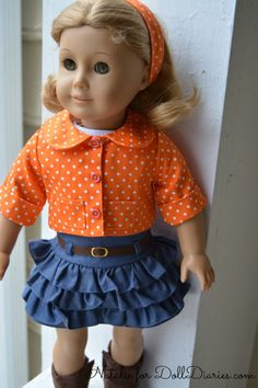 American Girl doll wearing Bonnie & Pearl outfit