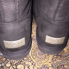 Ugg Australia Black Leather Boots Brand new with Box. Size 8. Will for 8-9. Retail $220. Authentic UGG Shoes Winter & Rain Boots