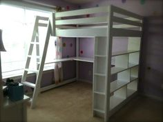 full size loft bed with built in bookcase and desk