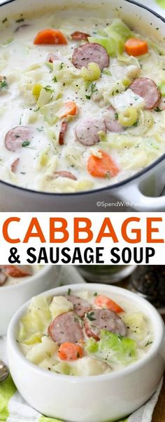 Warm your belly from the inside out with a bowl of easy Sausage & Cabbage Soup! A beautifully luscious soup with smoky sausage, fresh vegetables and of course sweet tender cabbage simmered in a flavorful creamy broth. Cabbage Soup Recipes, Creamy Cabbage Soup Recipe, Soup With Cabbage, Crockpot Cabbage Soup, Stuffed Cabbage Soup, Cabbage Meals, Cabbage Soup Diet, Cabbage Casserole, Potato Recipes