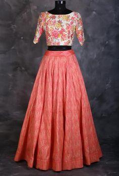 Taffeta And Silk Party Wear Crop top lehenga In Peach Colour Nn dresses Blouse Lehenga, Lehnga Dress, Saree, Floral Lehenga, Anarkali, Designer Kurtis, Designer Dresses, Crop Top Dress, Crop Top Outfits