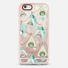 Woodland Teepes - protective iPhone 6 phone case in Peach Pink by Bianca Pozzi #animal | @casetify