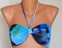Blue multicolor lycra bandeau strappless bra bandeau by bstyle, $20.00