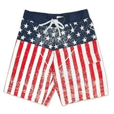 1f8b75f0a5 USA Distressed Patriotic American Flag Boardshorts (M), Men's, Red  (polyester)