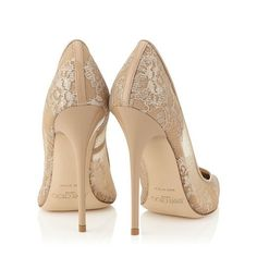 Jimmy Choo Anouk Nude Lace Pointy Toe Pumps #party #wedding #shoes