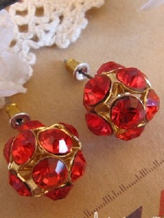 Red Gemstone Sphere Gold Stud Earrings