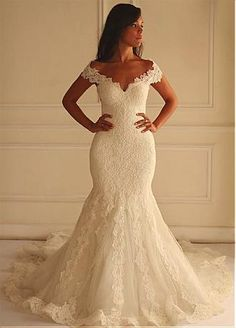 Buy discount Stunning Tulle Off-the-shoulder Neckline Mermaid Wedding Dress With Lace Appliques at Dressilyme.com