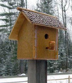 626D Mustard birdhouse on post with  corn cob pipe perch recycledbirdhouses.com