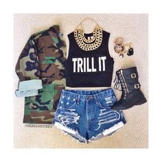 Dope outfit.... Trill It Crop Top, Denim shorts, Camo Jacket, Buckle Boots, and Accessories Check out the website for more