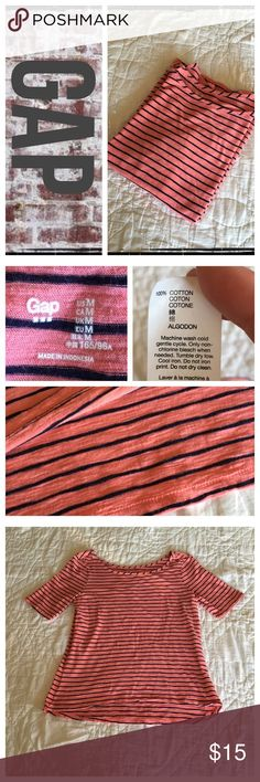 Gap striped boat neck 100% cotton tee BNWOT -REASONABLE OFFERS ONLY- -Smoke and pet free - I try to stay around 75% off MSRP; please keep this in mind when making offers.  -I do not model anything; everything looks different on everyone and I don't wasn't too Jade that. I will provide measurements if needed.  -NO HOLDS, NO TRADES, POSH RULES ONLY! GAP Tops Tees - Short Sleeve