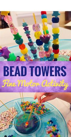 Bead Towers Fine Motor Activity Spaghetti Bead Towers are a fun fine motor activity for Preschoolers!Spaghetti Bead Towers are a fun fine motor activity for Preschoolers! Fine Motor Activities For Kids, Motor Skills Activities, Gross Motor Skills, Art Activities For Preschoolers, Preschool Fine Motor Skills, Kids Motor, Sensory Activities For Preschoolers, Childcare Activities, Kids Activity Ideas
