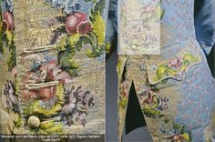 Detail of waistcoat worn by Claude Lamoral II (1685–1766), Prince of Ligne and the Holy Empire, c.1750. Embroidery, button holes & button (left) and right showing location of the detail. Front: Brocaded liseré gros de Tours, blue silk, polychrome silk thread, gilded silver thread. Back and lining: blue silk taffeta, white silk taffeta, wooden buttons covered with thread and gilded silver foil.