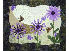Textile Fiber Art Quilted Wall Hanging by thebutterflyquilter