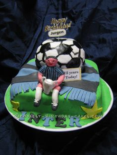 Coolest Soccer Theme Birthday Cake... This website is the Pinterest of birthday cake ideas