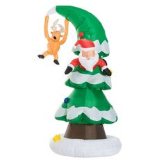 7Ft Inflatable Santa Stuck In Christmas Tree Outdoor LED Lighted Holiday Decor #SmartDealsMarket