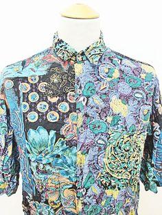 Vintage 80s AMAZING Crazy Pattern Print Paisley Geometric Print Shirt XL