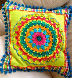 Large cushion with crochet and beading by wimcee on Etsy Crochet Cushions, Crochet Pillow, Diy Crochet, Mexican Embroidery, Crewel Embroidery, Embroidery Patterns, Crochet Border Patterns, Crazy Quilt Blocks, Crochet Mandala