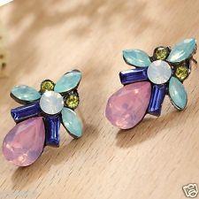 Wholesale 1pair Woman's Multi Crystal Rhinestone Long Ear Stud Hoop earrings 108