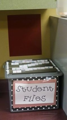 keep a file for each child: notes from parents, writing sample, test results, etc. easy to find if anything comes up...