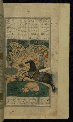 by Walters Art Museum Illuminated Manuscripts  Illuminated Manuscript, Book of kings (Shahnama), Bahrām Gūr hunting, Walters Art Museum Ms. W.603, fol. 172b