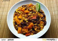 Veganské chilli recept - TopRecepty.cz Pot Roast, Sweet Potato, Chili, Pork, Potatoes, Vegetarian, Vegetables, Ethnic Recipes, Diet