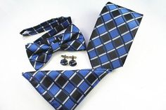 Mantieqingway Ties+Bowtie+Handkerchief+Cufflinks Sets Floral Ties for Suits Wedding Plaid Neck Ties Skinny Bowtie Pocket Square