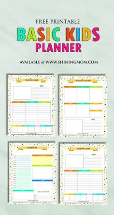 Printable Kids Planner : Cute and Colorful! Get this free printable planner for your kids! They'll love to use the fun pages!Get this free printable planner for your kids! They'll love to use the fun pages! Homeschool Student Planner, Kids Planner, To Do Planner, Student Planner Printable, Family Planner, School Planner, Free Planner, Planner Template, Weekly Planner
