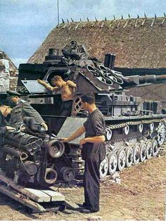 Reviewing a Panzer IV on the Eastern Front.