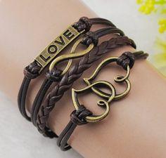 Heart Love infinity Antique Bronze Korea Velvet Leather Cute Charm Bracelet B080 infinity bracelet,http://www.amazon.com/dp/B00DGOBT98/ref=cm_sw_r_pi_dp_By7nsb1KYJ2NTJ2M