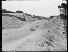 Construction of the new highway at Johnsonville photographed circa 28 December 1950 by an Evening Post staff photographer. The Hutt, British Isles, Old Pictures, Homeland, New Zealand, Past, Country Roads, News, 1950s