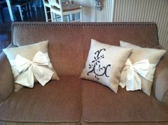 Burlap pillows custom made by Posh Petites Boutique. https://www.facebook.com/poshpetitesboutique lmb0828@hotmail.com