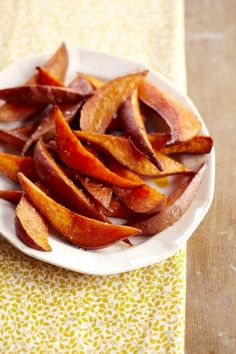 Baked sweet potato fries, sprinkle cinnamon  brown sugar. Bake at 400' degrees for 35 to 45 mins or golden brown.
