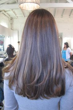 Cool-toned highlights for brunette hair