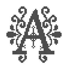 Counted Cross Stitch Pattern Formal Letters for Initials Letter A - Instant Download Epattern PDF File