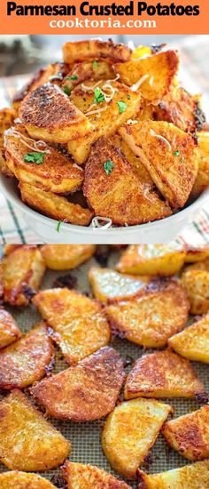 These tasty Parmesan Crusted Potatoes are so addictive that you wont be able to stop eating until you finish them all! These tasty Parmesan Crusted Potatoes are so addictive that you wont be able to stop eating until you finish them all! Potato Dishes, Potato Recipes, Vegetable Recipes, Food Dishes, Vegetarian Recipes, Cooking Recipes, Healthy Recipes, Side Dishes, Cooking Ham