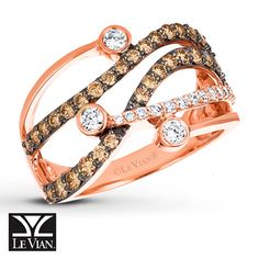 Sweet and chic Le Vian® Chocolate Diamonds® & Vanilla Diamonds® Ring in 14K Strawberry Gold®.  At Kay Jewelers