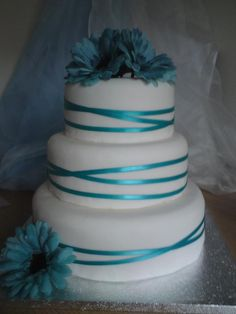 Aqua wedding cake... Wedding ideas for brides, grooms, parents & planners ... https://itunes.apple.com/us/app/the-gold-wedding-planner/id498112599?ls=1=8 … plus how to organise an entire wedding ♥ The Gold Wedding Planner iPhone App ♥ http://pinterest.com/groomsandbrides/boards/