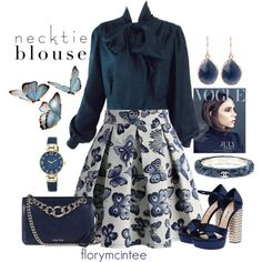 Necktie Blouse Contest Entry by florymcintee on Polyvore featuring Pierre Balmain, Chicwish, Miu Miu, Chanel, Anne Klein, Latelita and Victoria Beckham